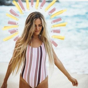 Rhythm stripe one piece swimsuit Dusk BNWT